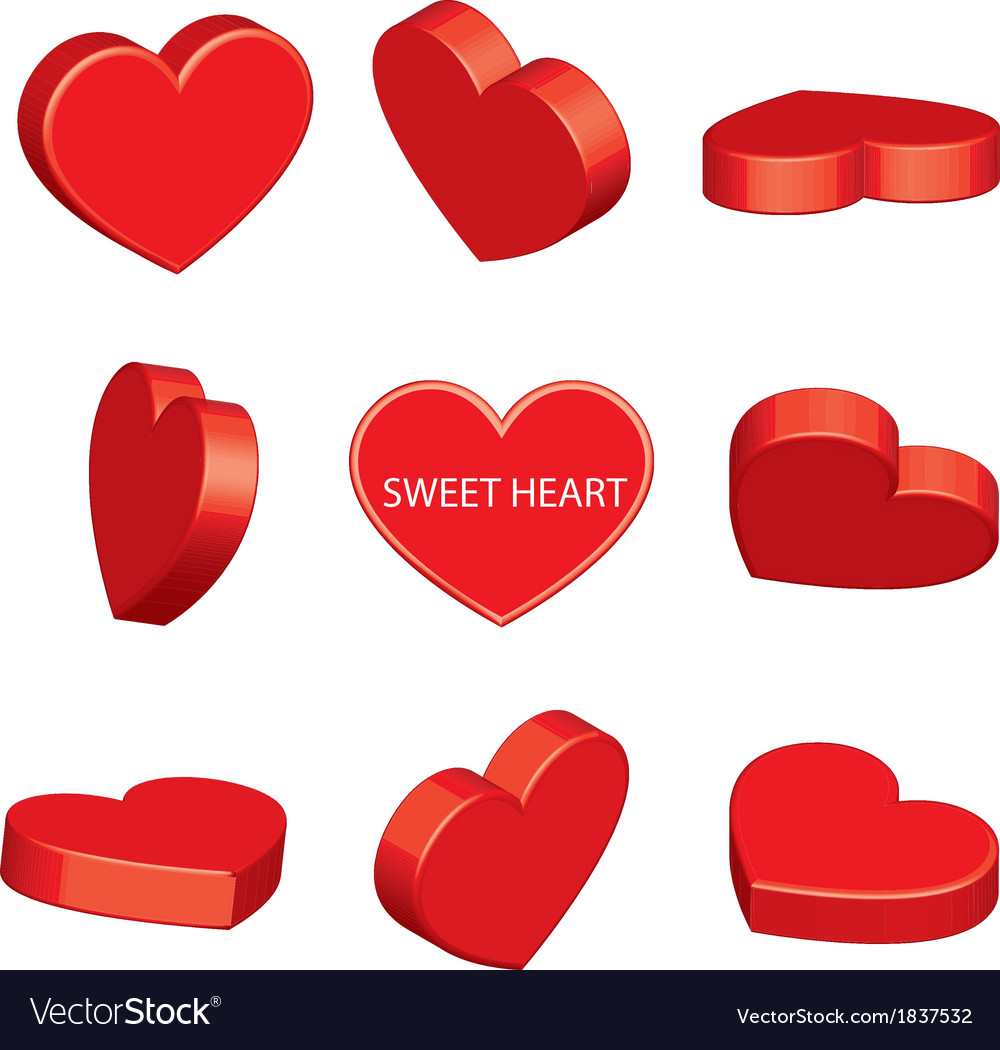 Sweet heart perspective vector