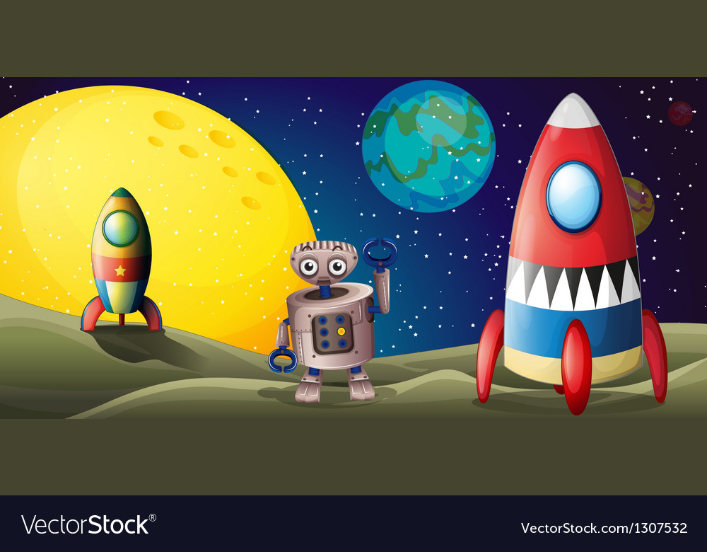 Two spaceships and a robot in the outer space vector