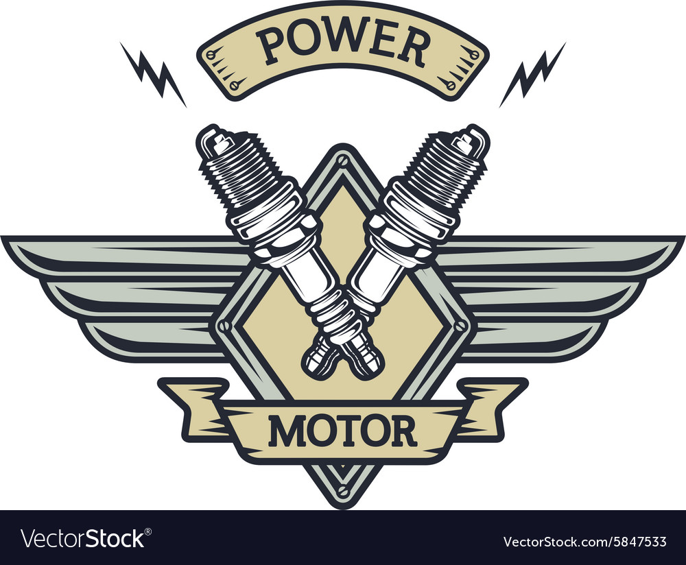 Auto emblem to the spark plugs vector
