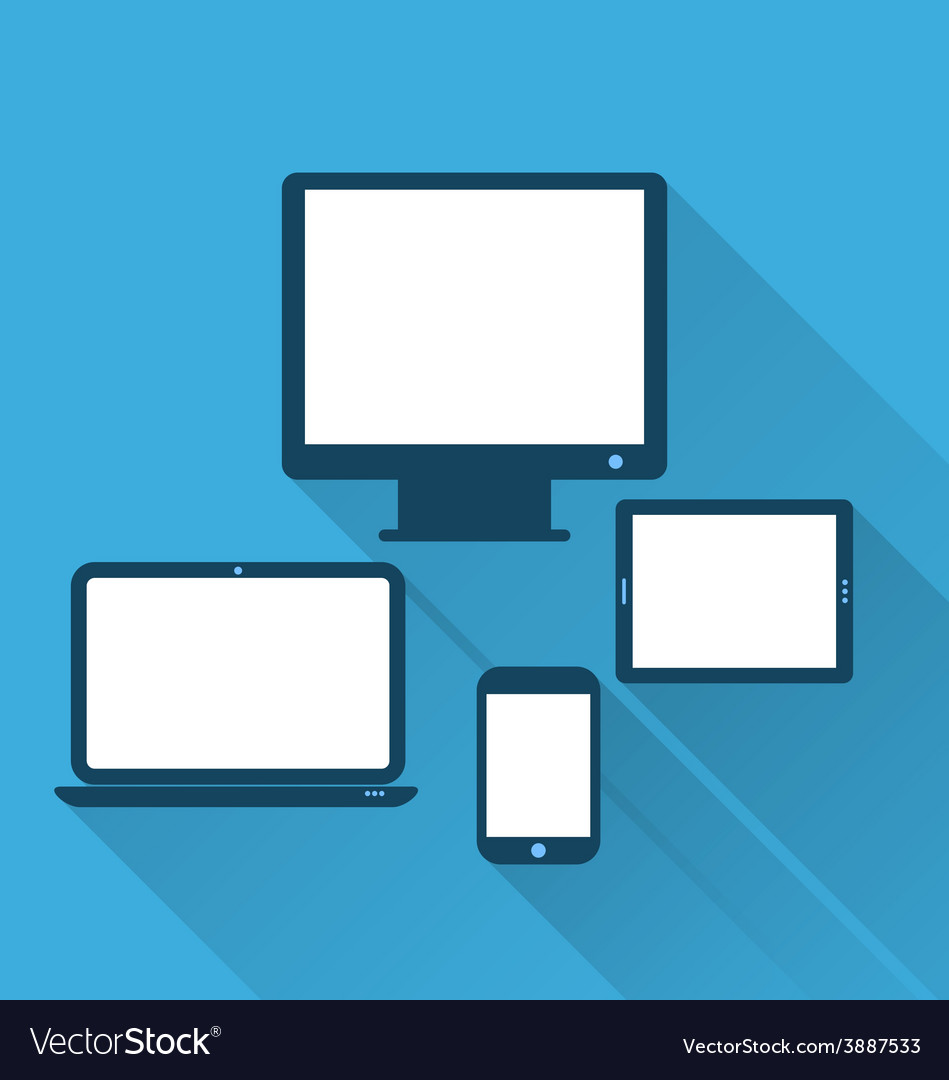 Monitor laptop tablet computer and mobile phone vector