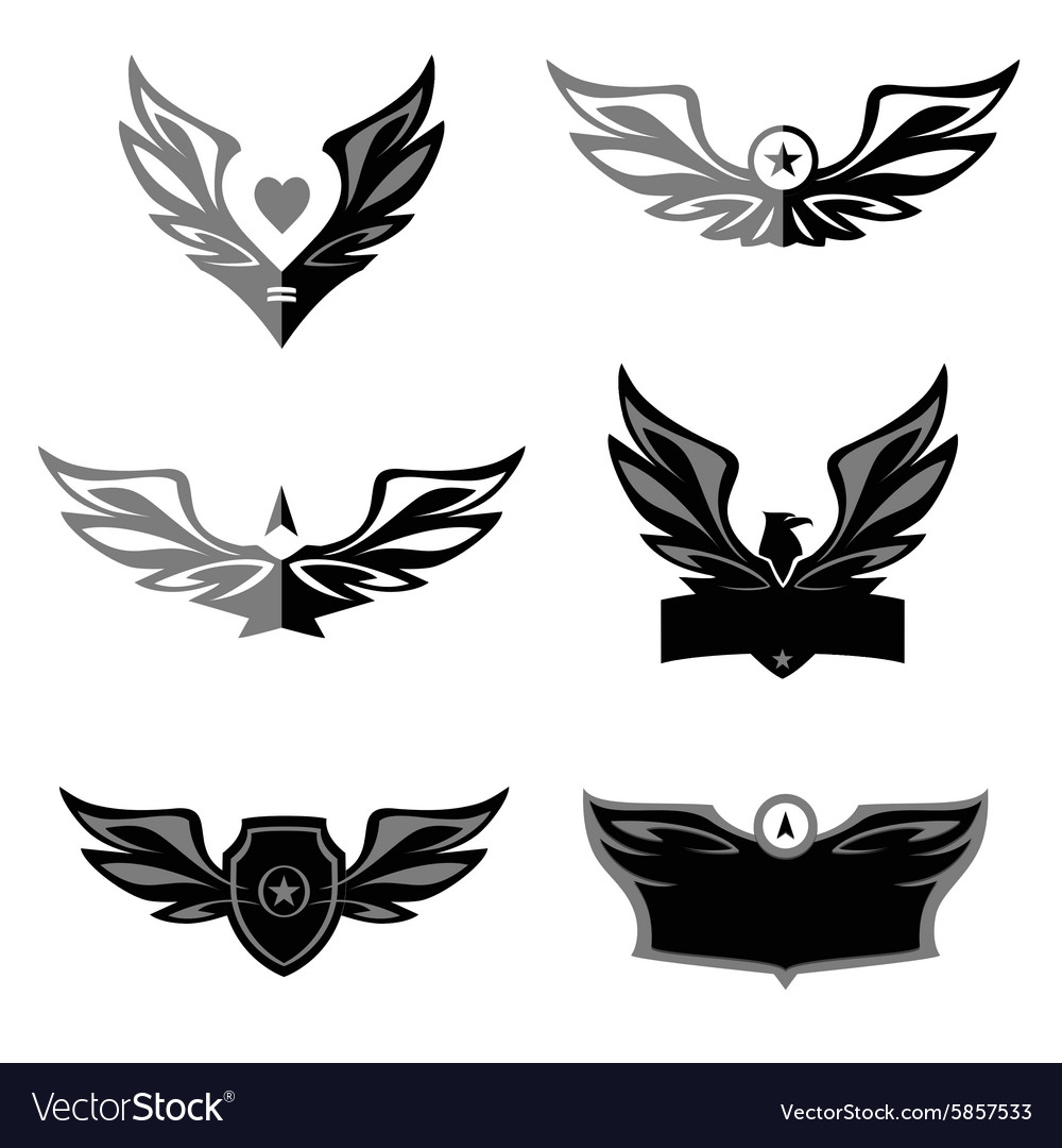 Set of patterns logo depicting an eagle a vector