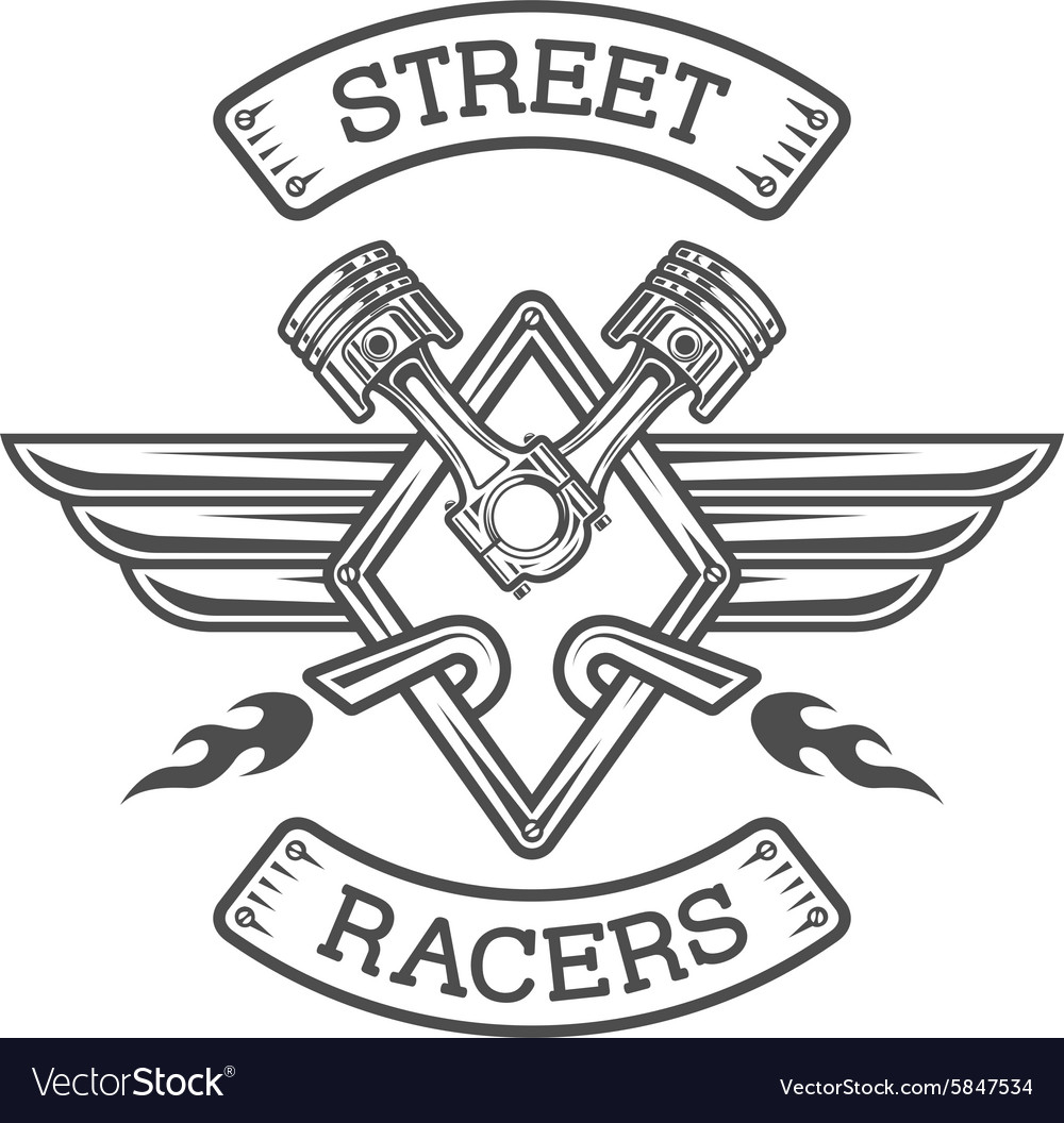Auto emblem sign the racing theme vector