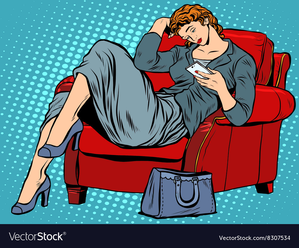 Lady in the chair looks smartphone vector