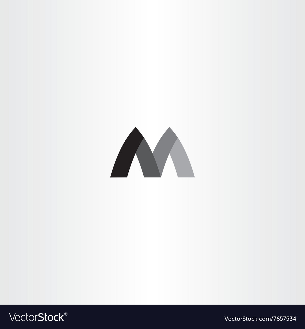 M letter black symbol m sign vector
