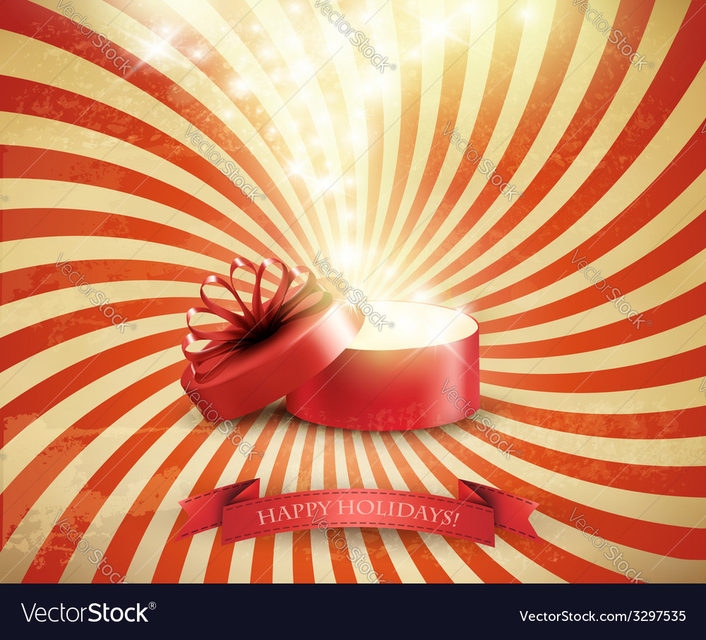 Retro christmas holiday background with open gift vector
