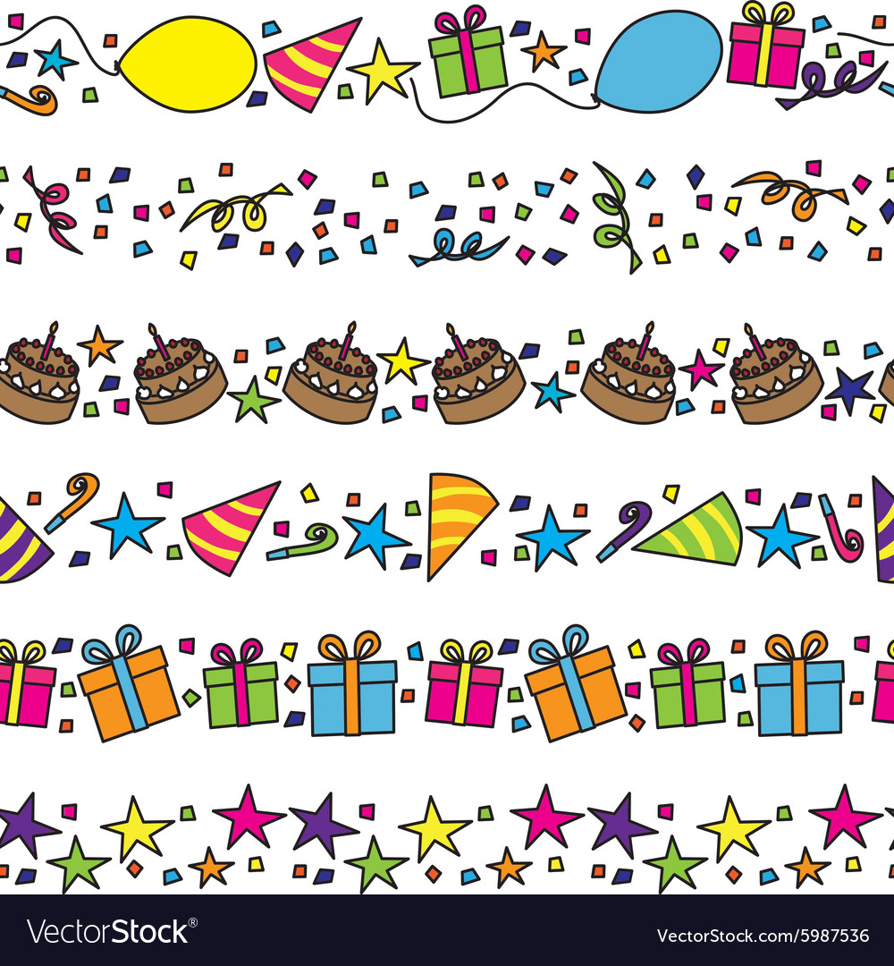 Birthday party borders vector