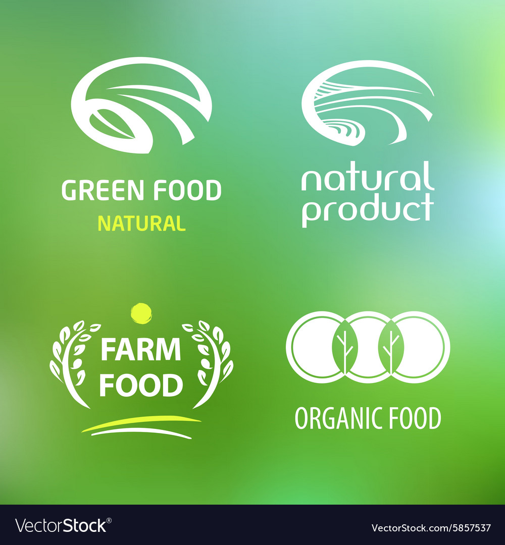 Set of patterns logos natural farm products vector