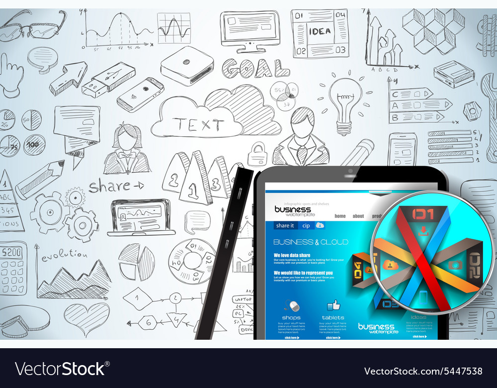 Modern mockup device with infographics sketch set vector