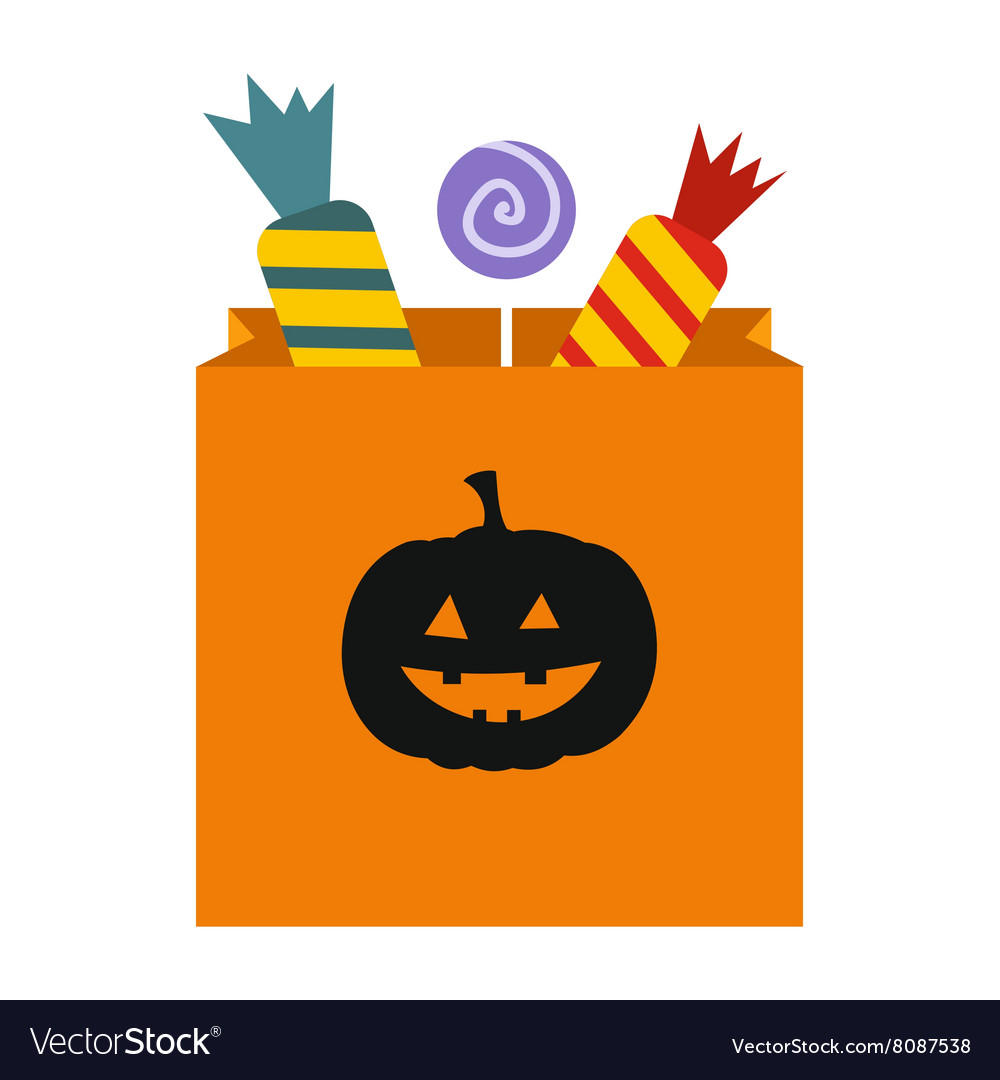 Package candy on halloween icon vector