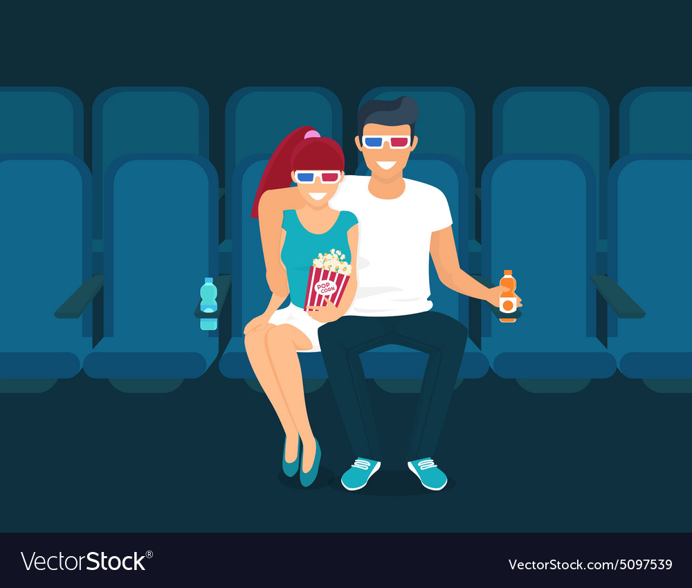 Couple in the cinema vector