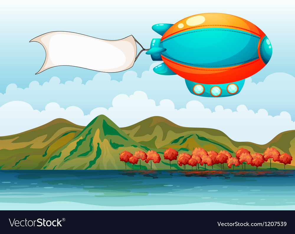 Empty banner carried by the colorful airship vector