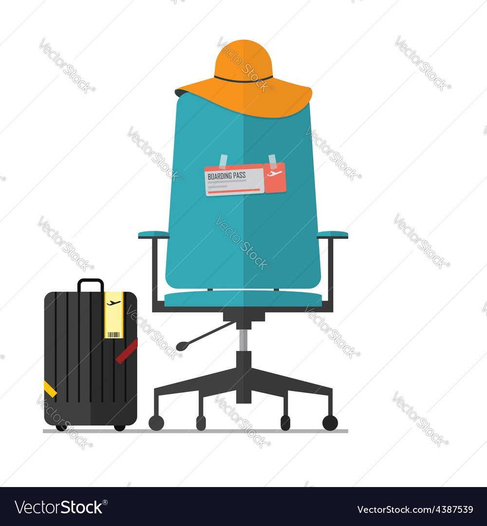 Flat design of office chair with fight ticket vector