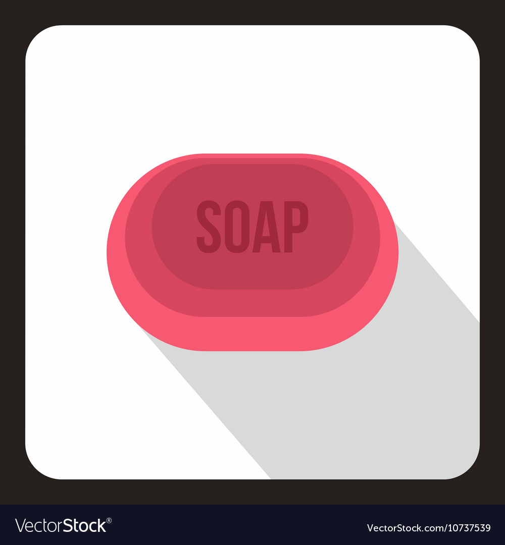 Pink soap icon flat style vector