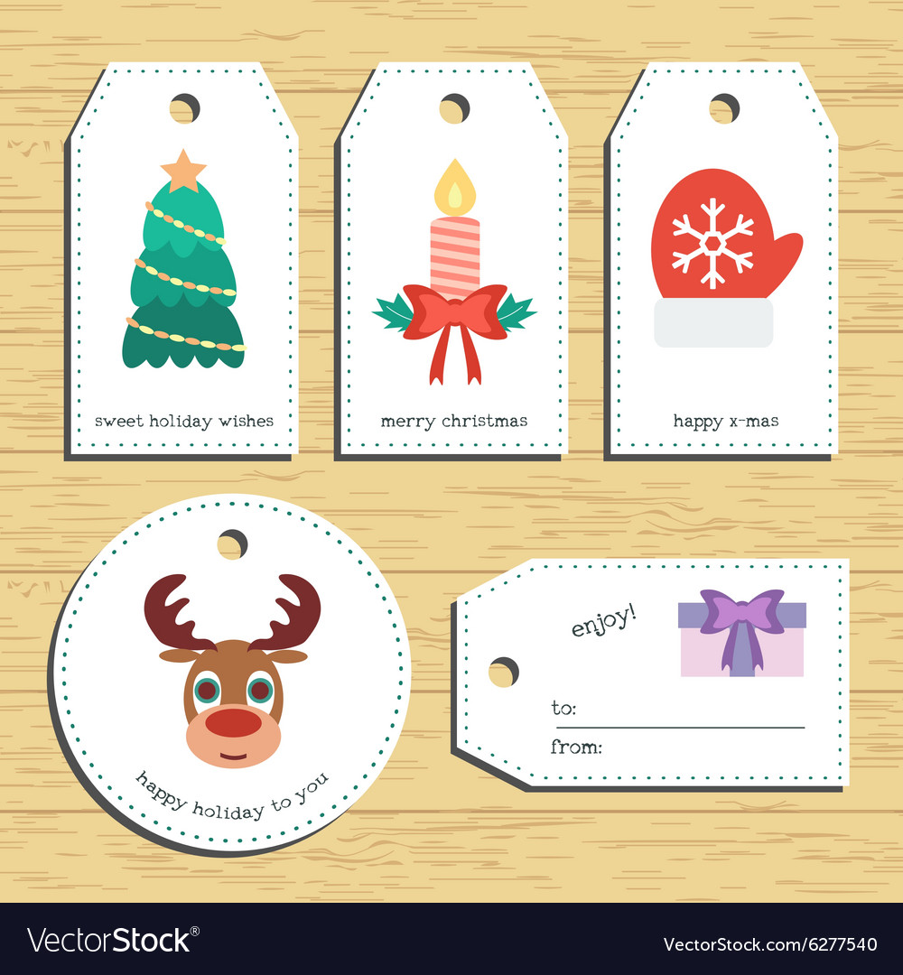 Christmas gift tags ready to use christmas vector