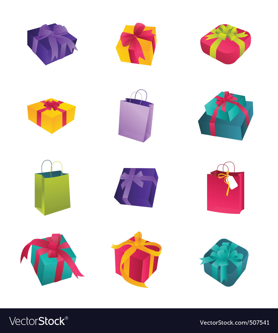 Colorful birthday gifts vector