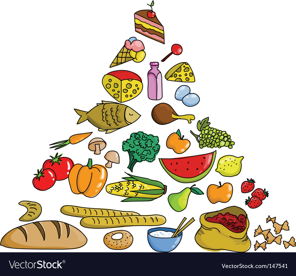 Food pyramid icons vector