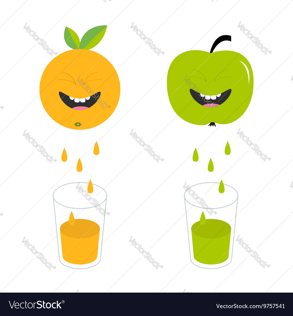 Fresh juice and glasses apple orange fruit with vector