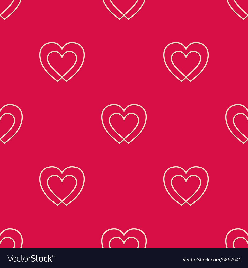 Seamless pattern with two hearts vector