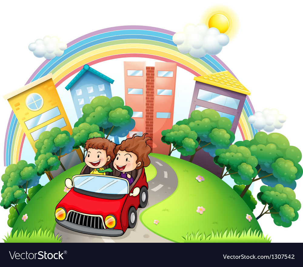 A girl and a boy riding at the car along the road vector