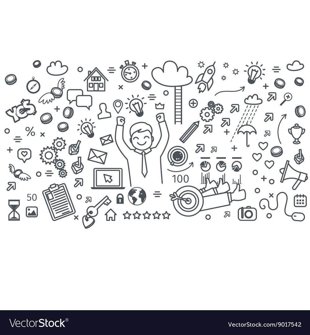Business doodles icons vector
