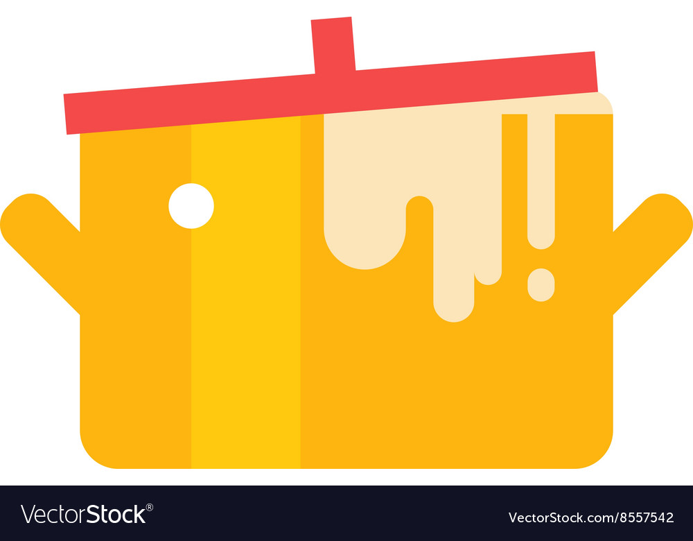 Cartoon pan cooking steel home kitchen equipment vector