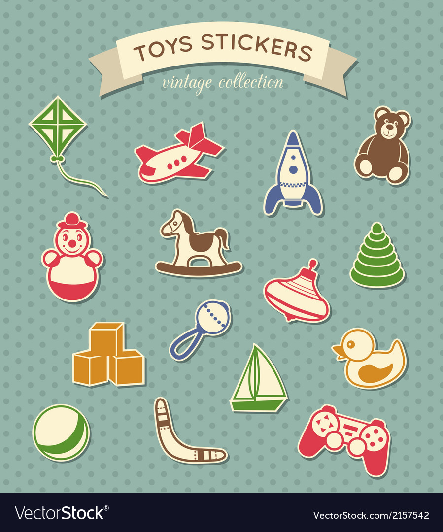 Toys stickers vintage collection vector
