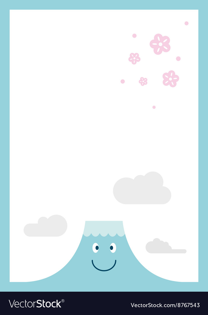 Mt fuji with cherry blossom vector