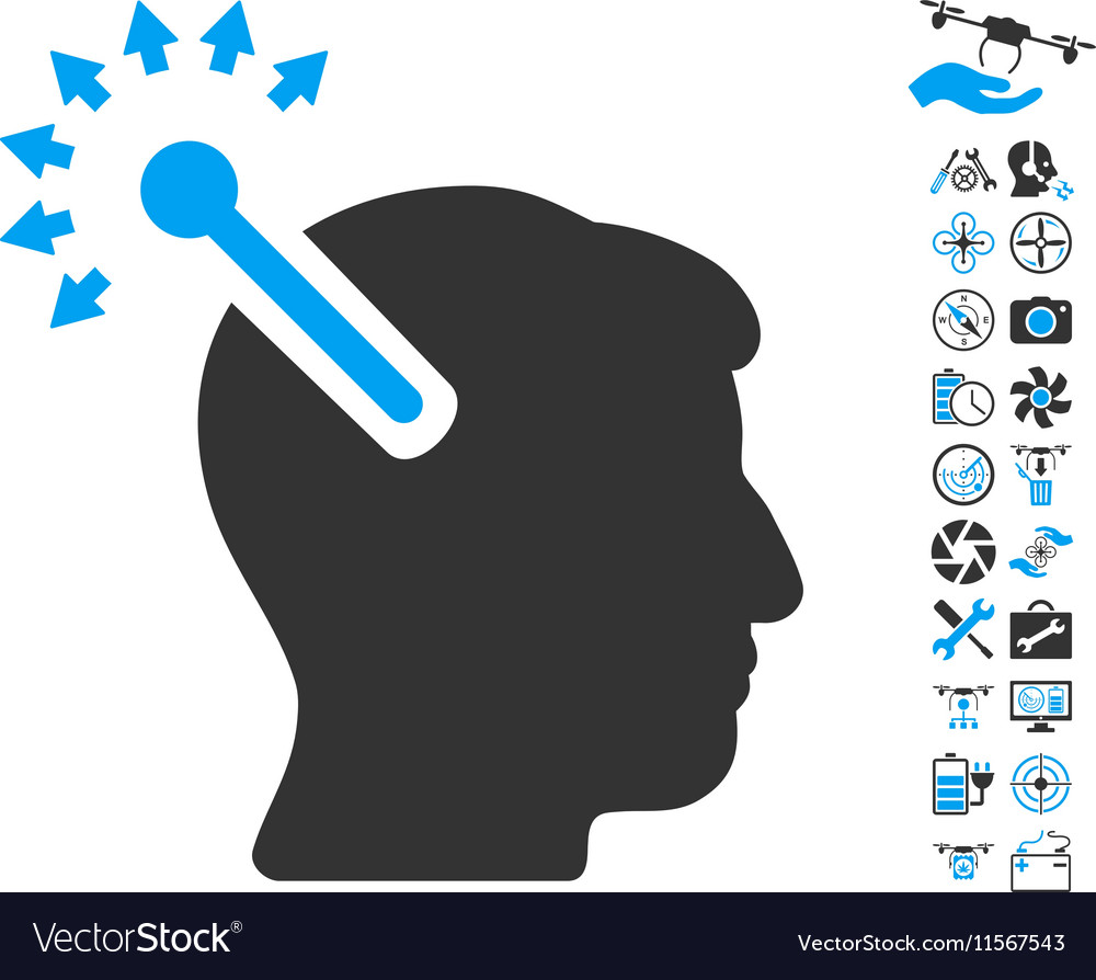 Optical neural interface icon with air drone tools vector