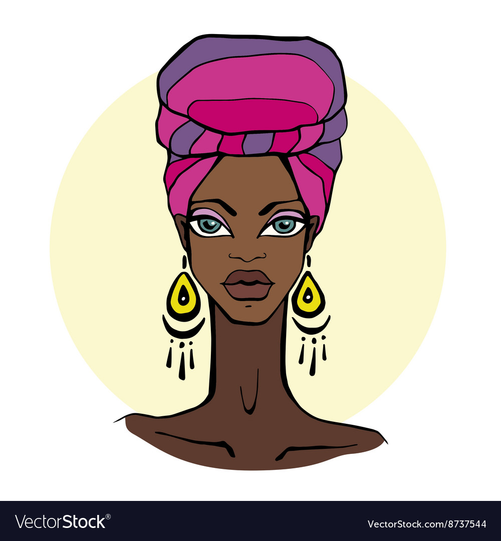 African beautiful woman portrait vector