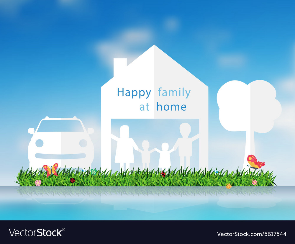 Paper cut of happy family with home vector