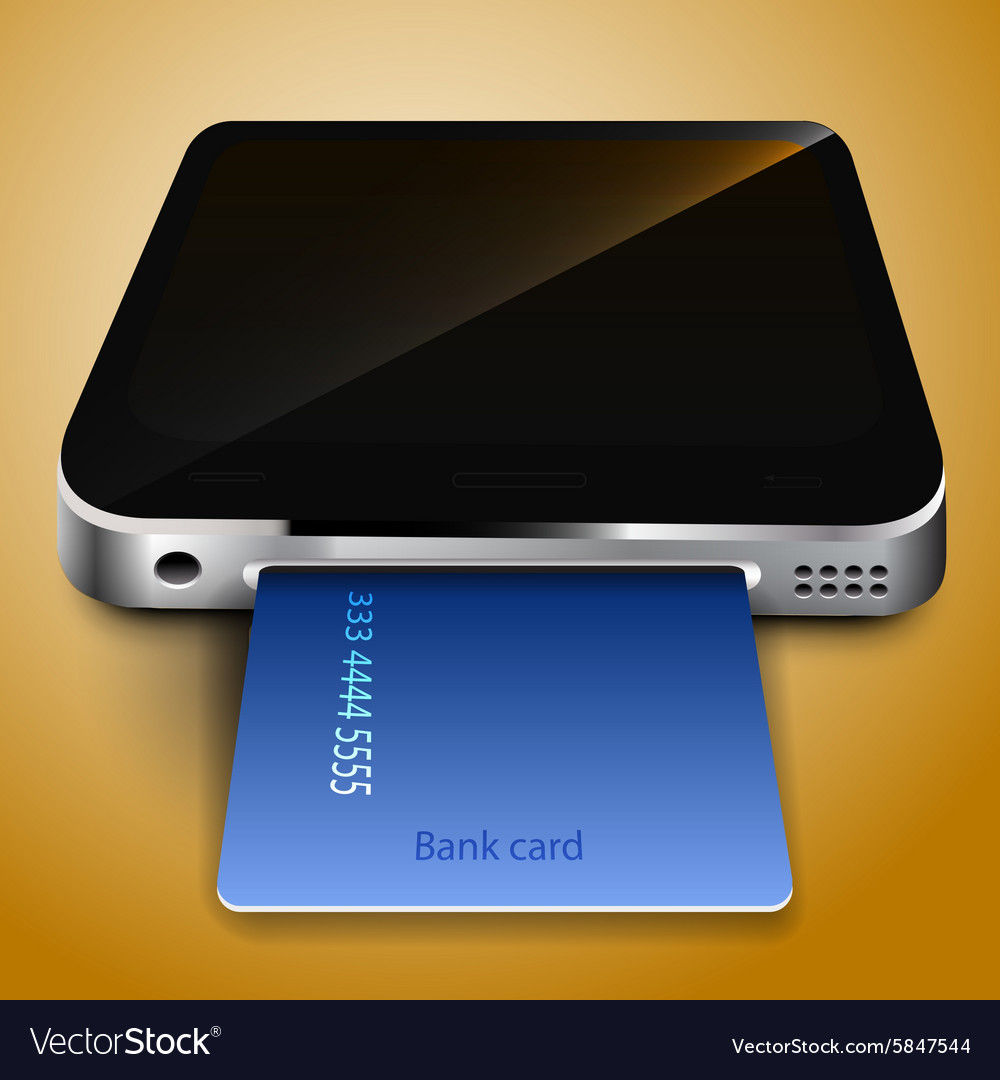 Payment by credit card through a mobile device vector