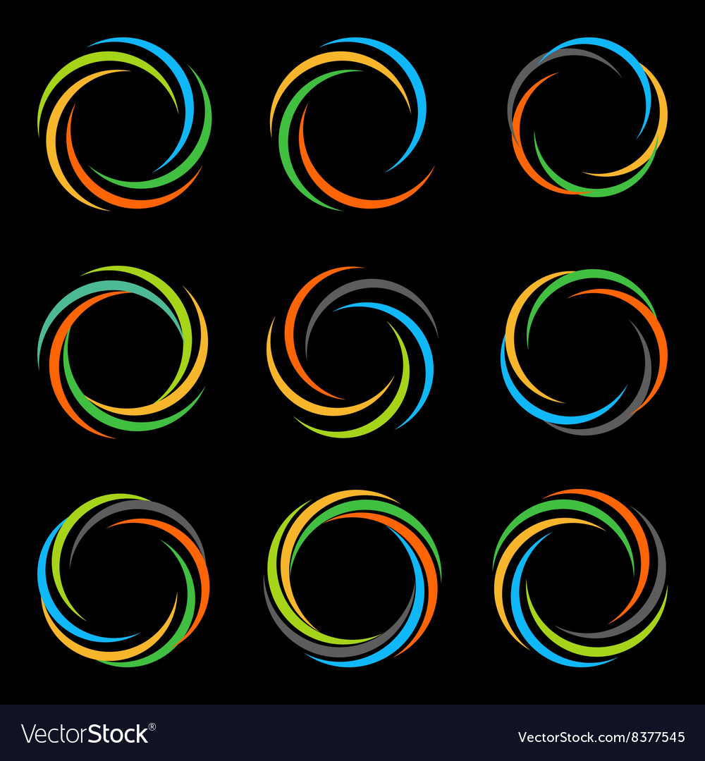 Abstract spiral tornado set of logos vector