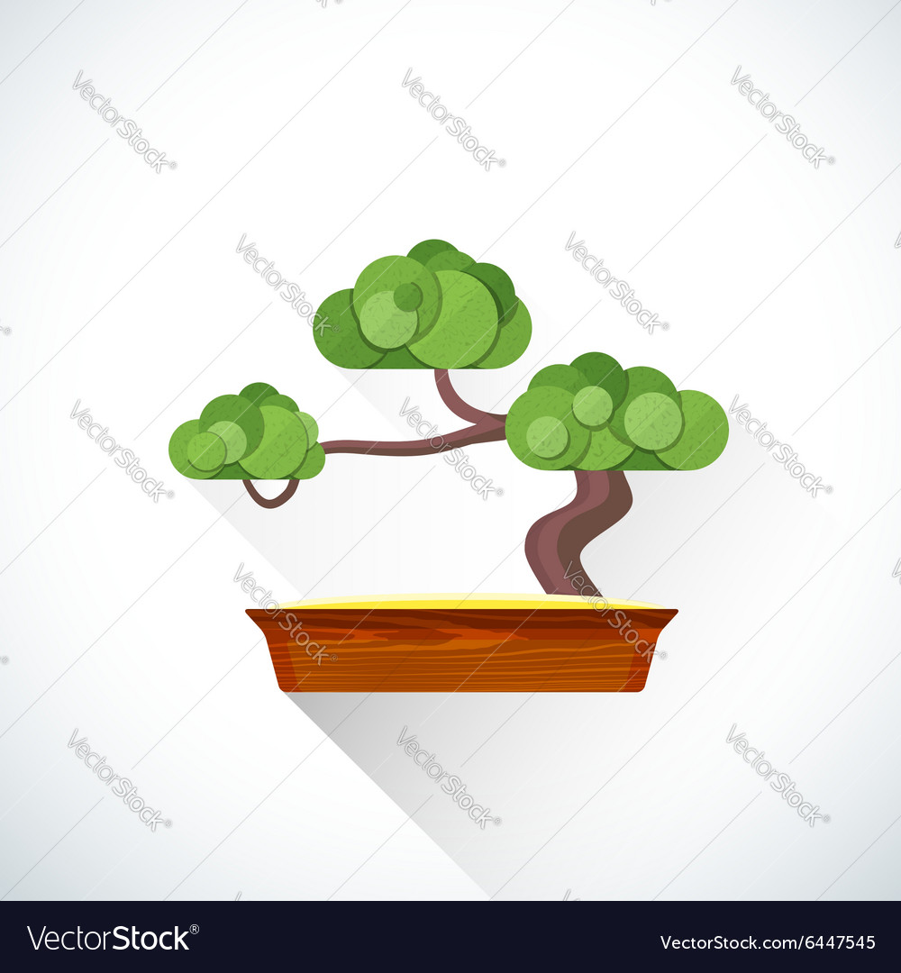 Flat bonsai icon vector