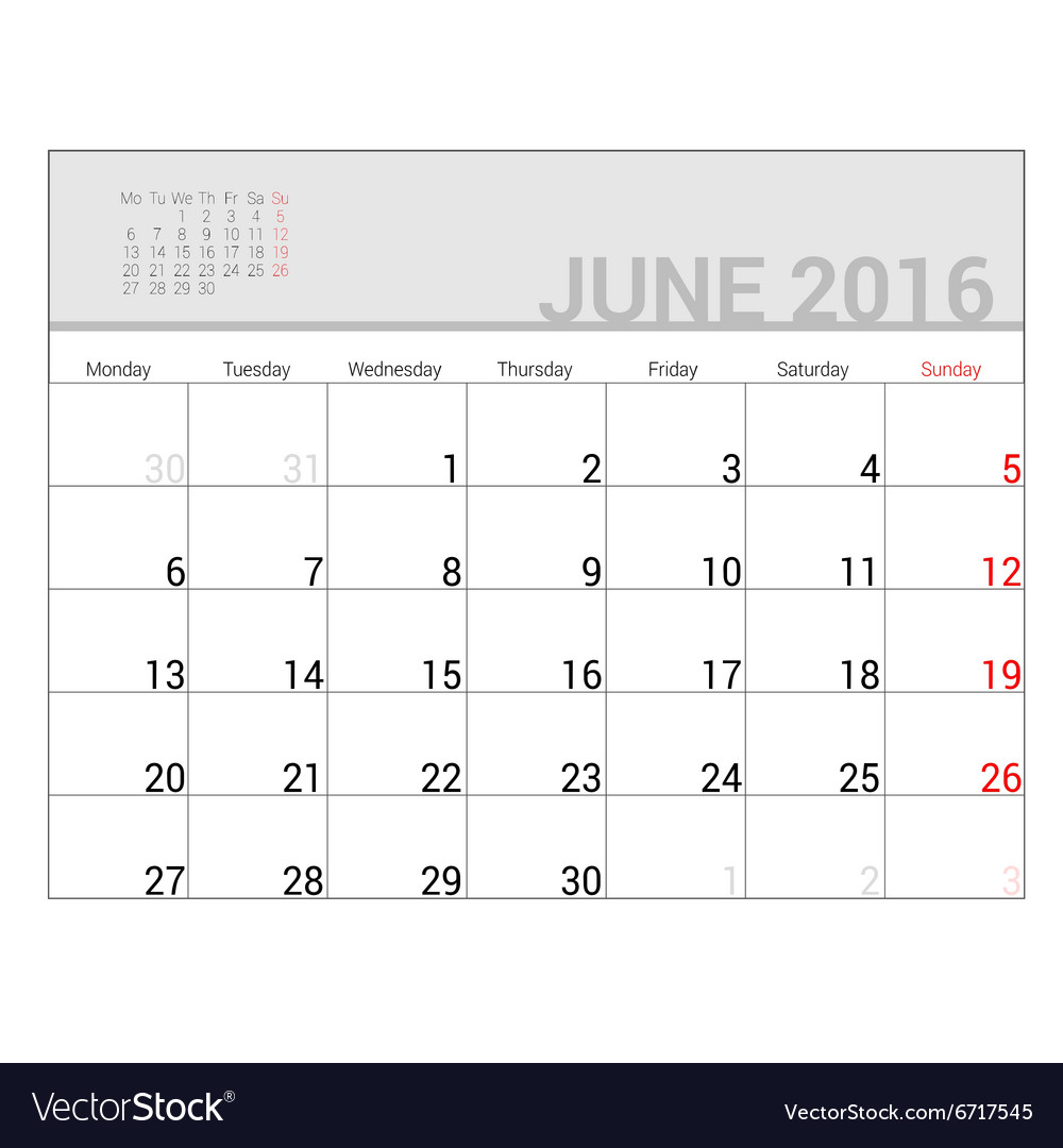 Planners for 2016 june vector