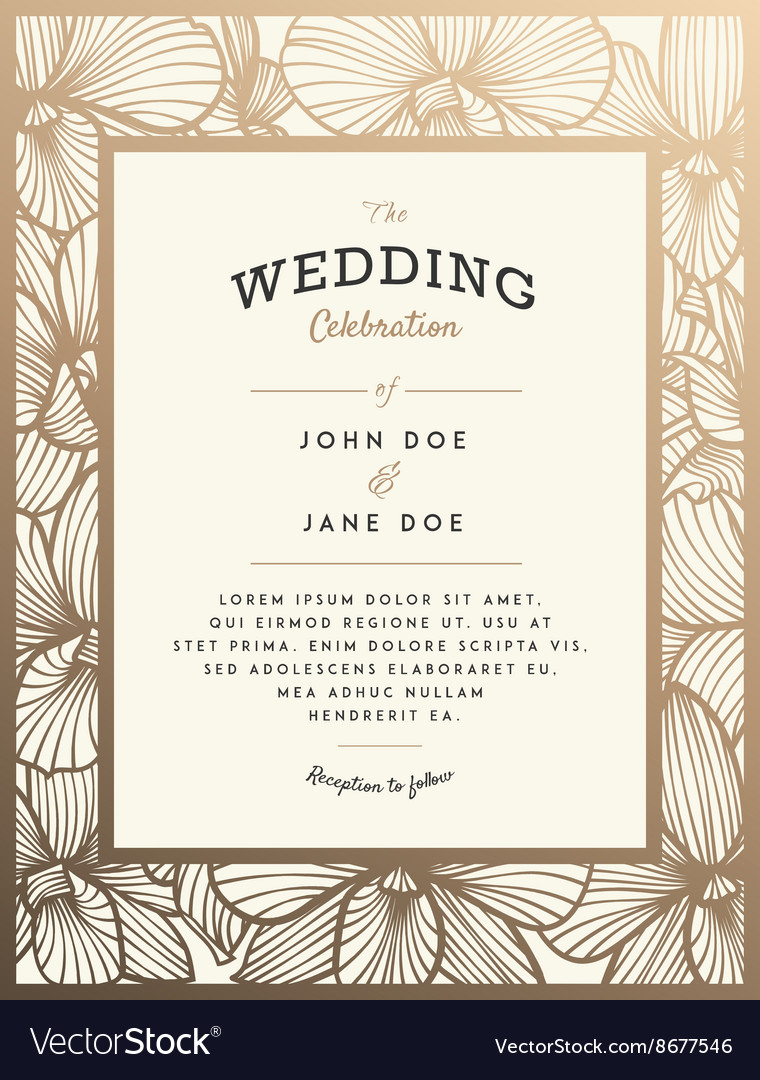 Elegant wedding invitation with orchid flowers vector
