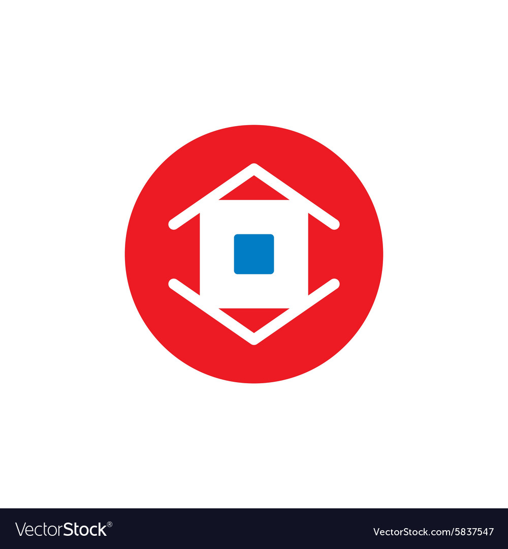 Real estate abstract red sign vector