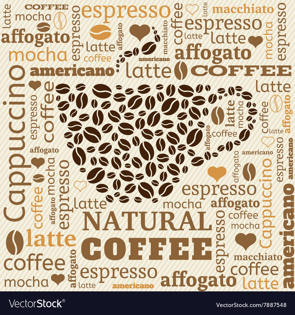 Cup of coffee with word cloud on fabric background vector