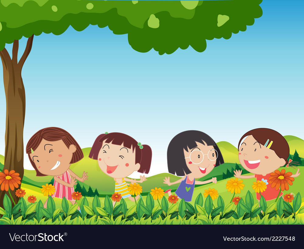 Happy kids playing outdoor near the blooming vector