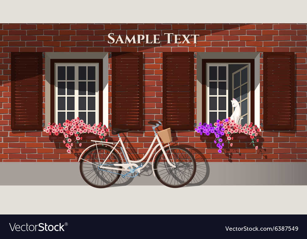 Brick house and bicycle vector