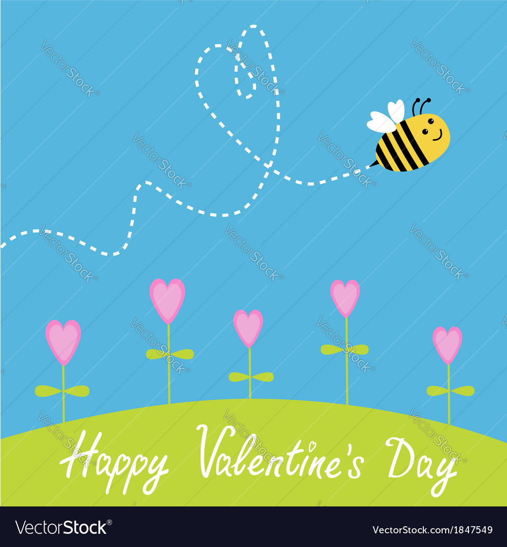 Flying bee flowers dash heart in the sky card vector