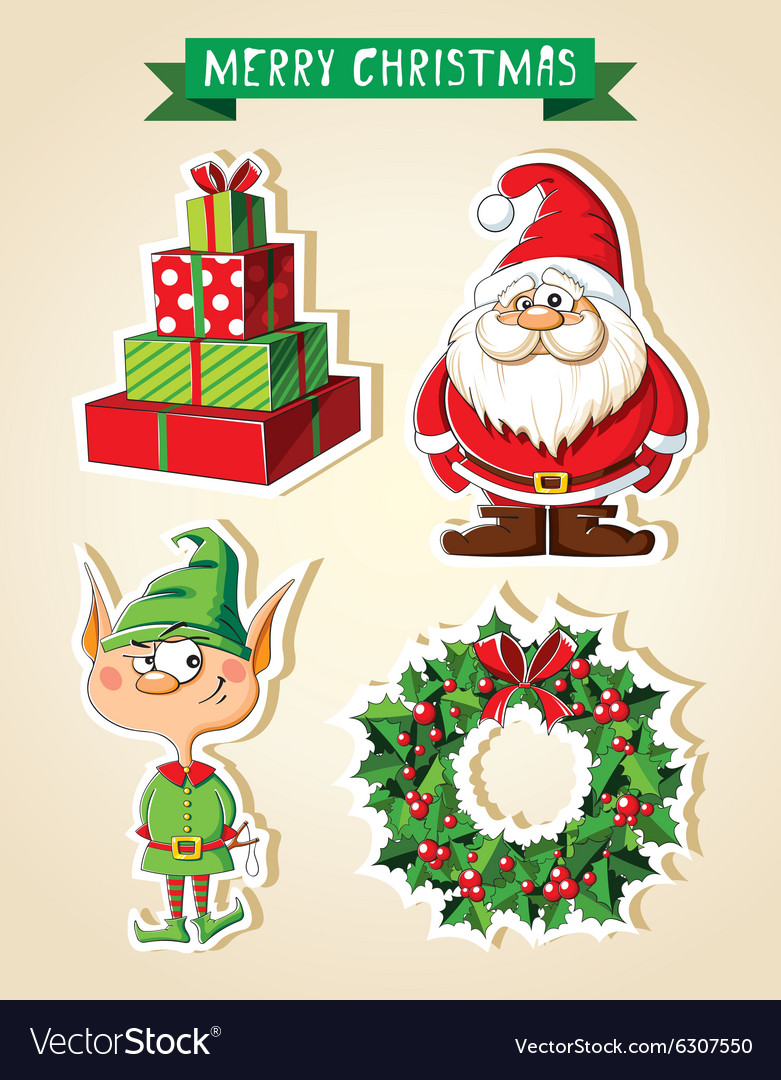 Set of christmas cartoon stickers vector