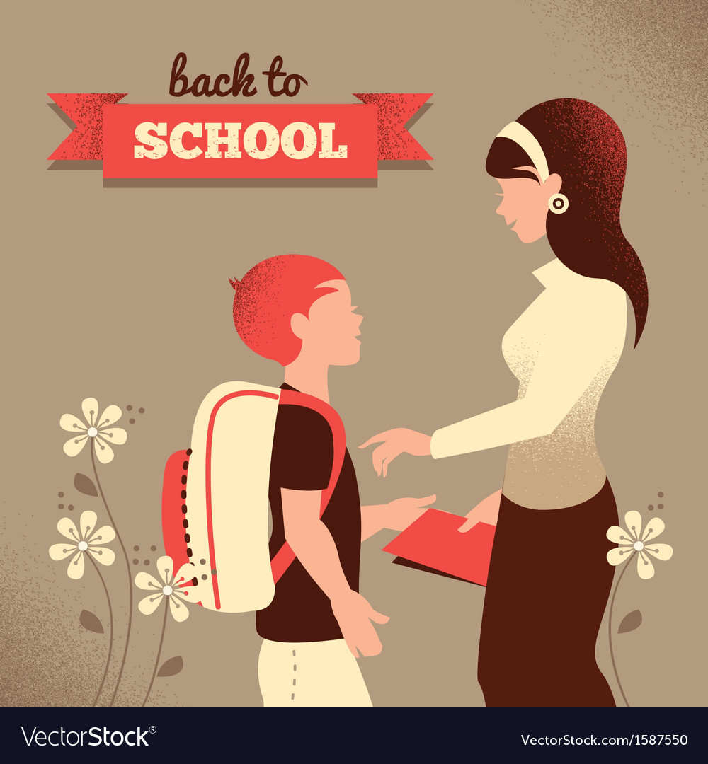 Vintage silhouette of teacher and student vector