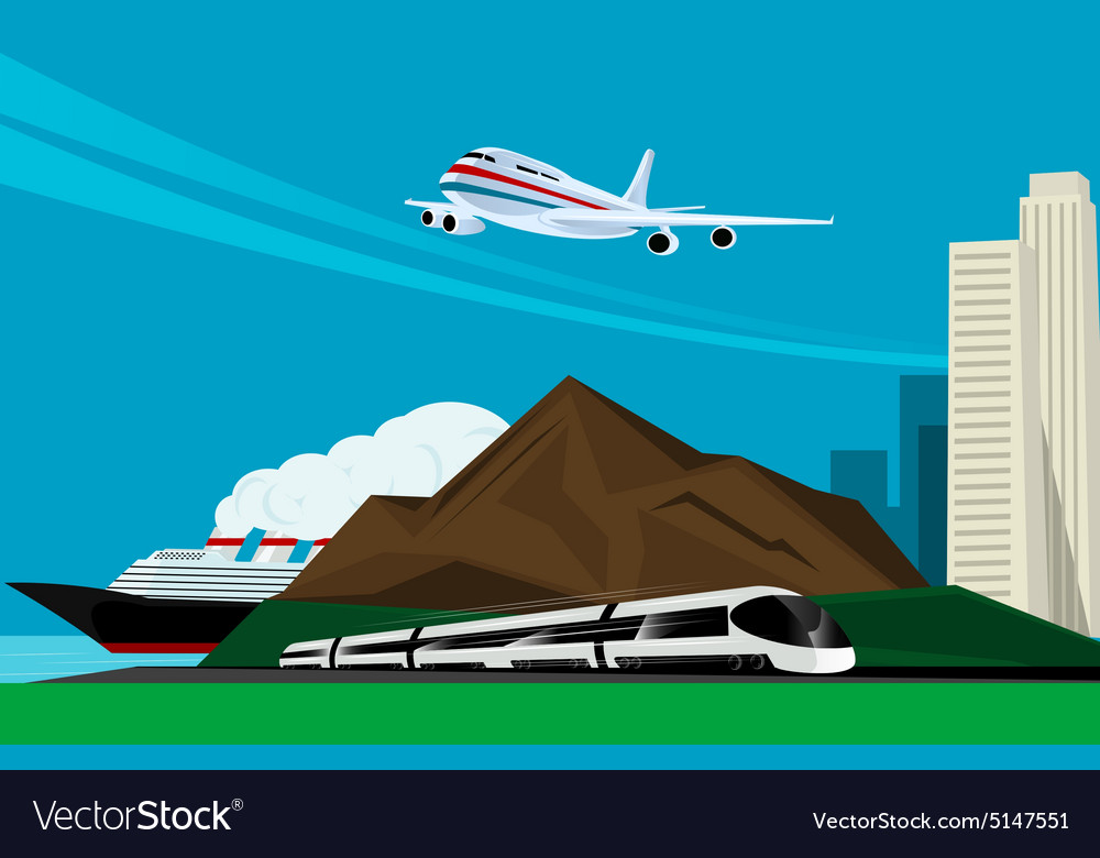 Background image with train plane and cruise ship vector