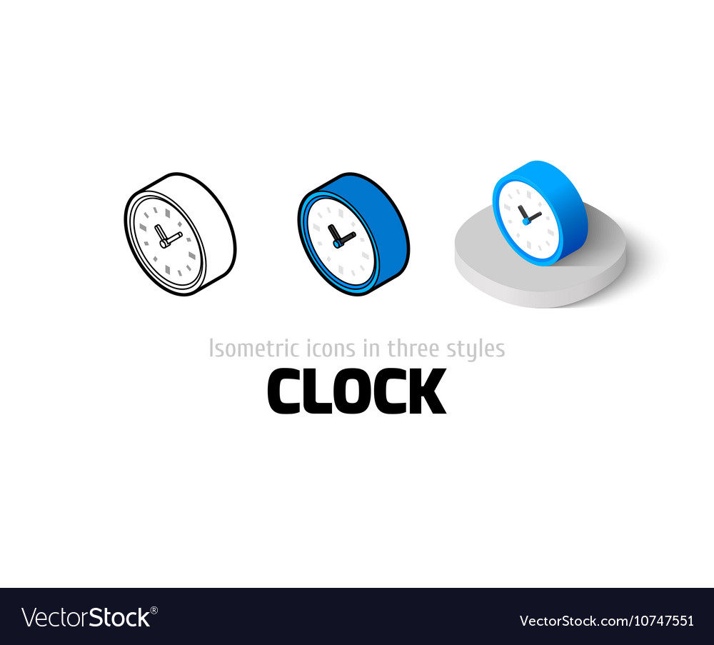 Clock icon in different style vector
