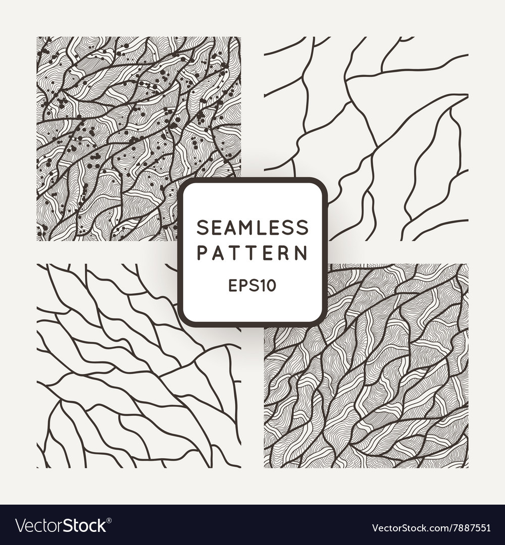 Set of seamless patterns in the style of vector