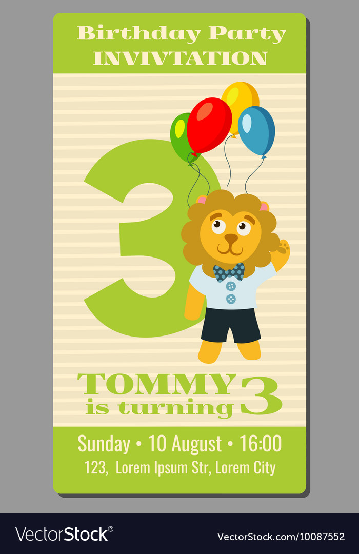 Birthday holiday greeting and invitation with cute vector