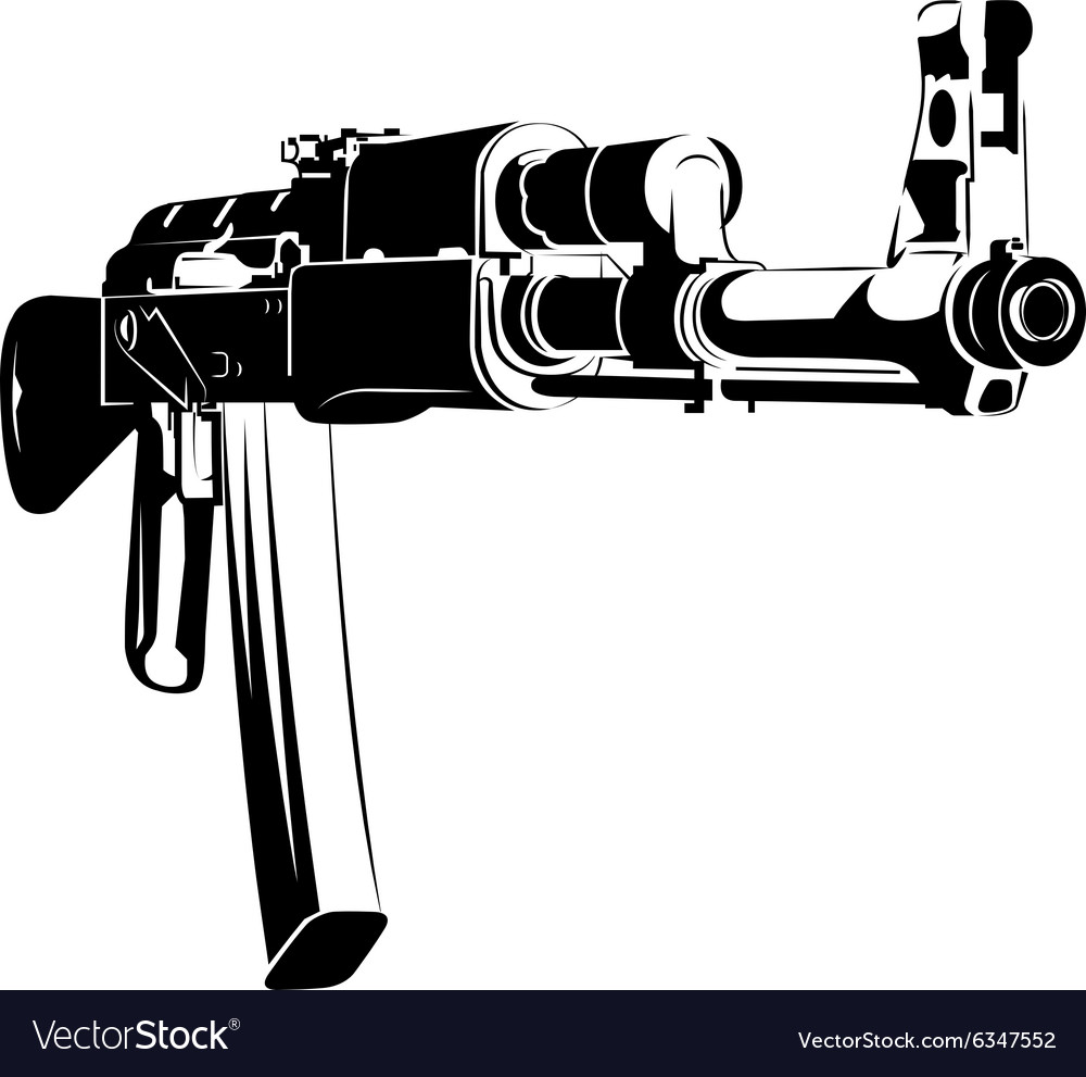 Black and white machine gun ak vector