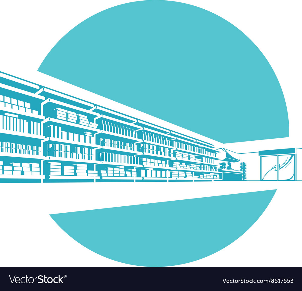 Shelves in store supermarket vector