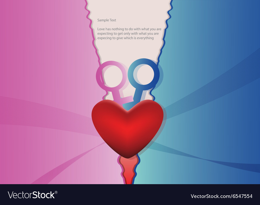 Heart with blue and pink background vector