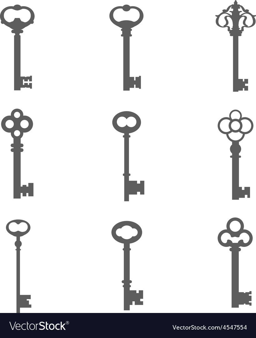 Set of nine keys silhouettes vector